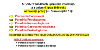 Informujemy, iż zdniem 6 lipca 2020 roku wznawiają pracę poradnie specjalistyczne przy ul.Starowiejskiej 15