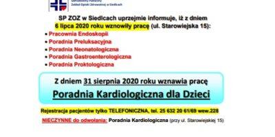 SP ZOZ wSiedlcach uprzejmie informuje, iż zdniem 6 lipca 2020 roku wznowiły pracę Poradnie…